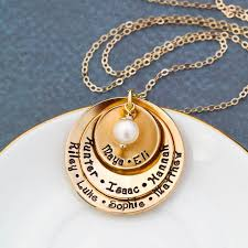 grandma gold name necklace layered disc