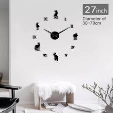 1piece Rabbit With Roman Numerals Diy Large Wall Clock Kids Room Decor Frameless Giant Wall Watch 3d Mirror Effect Wall Sticker Wall Clocks Aliexpress