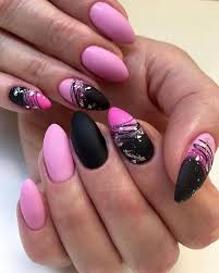 21 hot pink and black nail designs that
