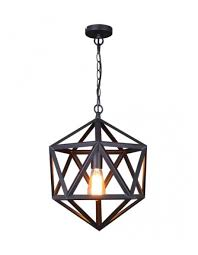 geometric matte black iron cage pendant