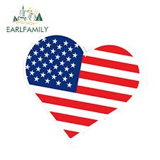 Earlfamily 13cm X 12cm Car Styling Heart Usa America Flag Unite Graphic Car Stickers Pistol Amendment Waterproof Car Accessories Car Stickers Aliexpress