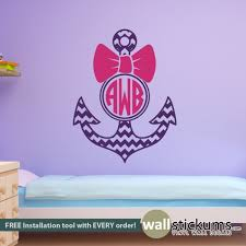Girl S Circle Monogram With Chrevron Print Anchor And Bow Personalized Monogram Wall Decal By Wallstickums Com