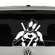 Deadpool With Hands Shaped As Heart Vinyl Decal Sticker
