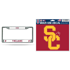 Usc Trojans Official Ncaa License Plate Frame Chrome And Multiuse Car Decal Bundle 2 Items Walmart Com Walmart Com