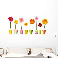 Amazon Com Wallmonkeys Flower Nature Garden Daisies Wall Decal Sticker Set Individual Peel And Stick Graphics On A 48 In W X 30 In H Sticker Sheet Wm262226 Furniture Decor