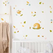 Fairy Tale Forest Home Decor Bohemian Woodland Animals With Mushroom And Leafs Kids Room Or Baby Nursery Wall Decals Room Decor Wall Decor Room Decor