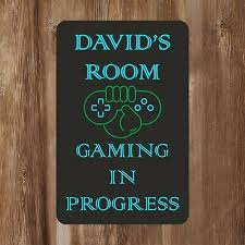 Door Signs Home Kitchen Precision Design Green Gamer Kids Bedroom Door Sign Personalised For You Any Name Door Plaque Girls Boys Decor Kids Room Games