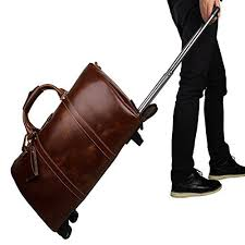genuine leather travel wheeled duffle
