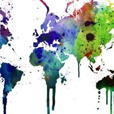Watercolor World Map Sticker Moonwallstickers Com