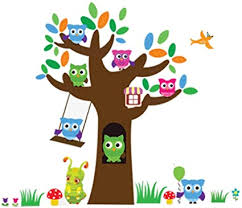 Amazon Com Removable Wall Decals Wall Stickers Cartoon Wallpaper Owls Trees Background Decorations For Kids Room Kindergarten Classroom Nursery Room Arts Crafts Sewing