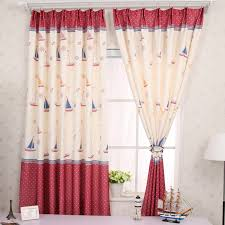 Chic Red Sailboat Kids Bedroom Nautical Curtains