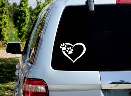 Paw Love Heart Decal Animal Decalscar Decals For Womenvinyl Etsy