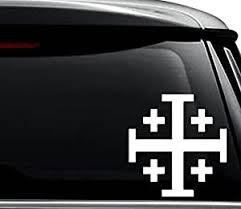 Jerusalem Cross Crusaders Cross Car Sticker Gold Vinyl Decal 2 4 8 20