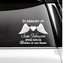 Amazon Com In Memory Of Car Decal Memorial Angel Wings Handmade