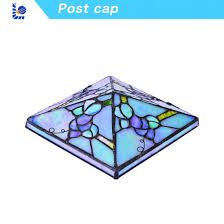 stained garden glass post cap for fence
