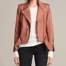 allsaints pink balfern leather jacket