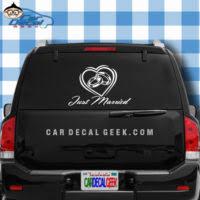 Just Married Bride Groom Vinyl Car Window Decal Sticker