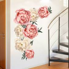 Romantic Flowers Big Wall Sticker Diy Peony Flower Wall Stickers Large Pink For Bedroom Living Room Vinyl Wall Decals Da Wall Stickers Aliexpress