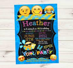 Emoji Pool Party Waves Dots Chalkboard Banner Birthday Invitation