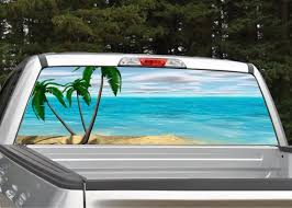 Beach Scene 4 Palm Trees Rear Window Graphic Decal Truck Suv Etsy