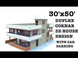 30x50 duplex 3d corner house plan