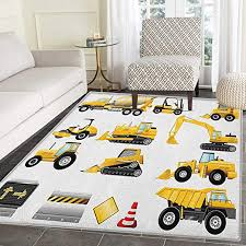 Amazon Com Boys Area Rug Carpet Yellow Colored Construction Site Machinery And Signs Lined Up For Display Living Dining Room Bedroom Hallway Office Carpet 4 X5 Earth Yellow Black Red Home Kitchen