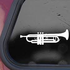 Amazon Com Trumpet White Decal Sticker Laptop Wall Notebook Car Die Cut White Decal Sticker Automotive
