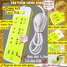 Shop bán Ổ Cắm Điện Đa Năng USB | Ổ Điện 6 Lỗ Và 3 Cổng Sạc USB | Ổ cắm  điện đa năng thông minh Xanh Lá giá chỉ 54.900₫