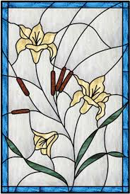vertical stained glass window with blue