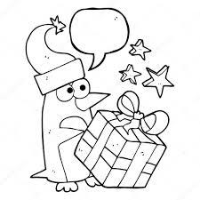 Tekstballon Cartoon Kerst Pinguin Met Heden Stockvector