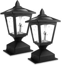 Solar Post Lights Outdoor Solar Lamp Post Cap Lights For Wood Fence Posts Pathway Deck Pack Of 2 Amazon Com