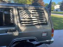 Distressed American Flag Window Decals For Jeep Cherokee 4dr Xj 1984 2001 Silver Ebay