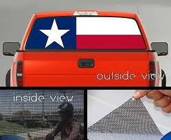 Flag Of Texas Rear Window Graphic Perforated Mesh Vinyl Decal Sticker Ebay