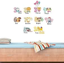 Amazon Com Bibitime 1 10 Math Number English Quotes Wall Stickers For Toddlers Bedroom Animal Balloon Cat Zebra Lion Vinyl Stickers For Children Baby Infants Nursery Wall Decor Arts Crafts Sewing
