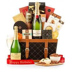 birthday wishes chagne gift basket