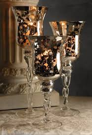 3 mercury glass pedestal candle holders