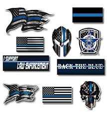 Amazon Com Small Mega Variety Pack Of Thin Blue Line Molon Labe Skull Police Officer Blue Lives Matter American Flag Vinyl Decal Sticker Car Truck Blm 10 Pack Kitchen Dining