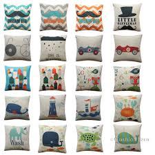 Kids Nursery Room Cushion Cover Cars Boys Room Whale Sailor Pillow Cover 45x45