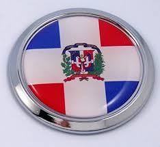 Dominican Republic Round Flag Car Chrome Decal Emblem Bumper Sticker B Car Chrome Decals
