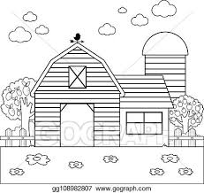 Vector Clipart Barn At The Farm Vector Black And White Coloring Page Vector Illustration Gg108982807 Gograph