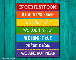 Playroom Rules Sign Childrens Wall Art Kids Room Decor Etsy