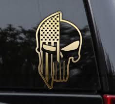 Spartan Helmet Punisher American Flag Decal