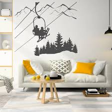 Skiing Wall Decal Skier Ski Lift Chair Mountain Pine Tree Wall Sticker Winter Sports Decor Vinyl Home Bedroom Decor Poster X131 Wall Stickers Aliexpress