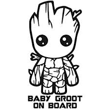 Amazon Com Baby Groot On Board 6 Tall Color Black Decal Laptop Tablet Skateboard Car Windows Stickers Computers Accessories