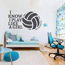 Amazon Com Volleyball Wall Decal Try To Keep Up Vinyl Decor For Girl S Bedroom Or Playroom Sports Decorations Handmade