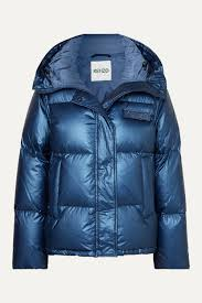 Navy Hooded metallic quilted shell down jacket | KENZO