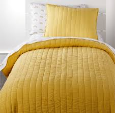 linen yellow bedding crate and barrel