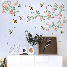 Romantic Pink Peach Blossom Tree Wall Stickers Flying Birds Butterfly Decor Girls Room Living Room Vinyl Diy Removable Mural Buy At The Price Of 7 99 In Aliexpress Com Imall Com