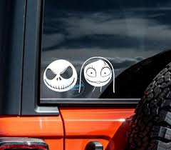 Nightmare Before Christmas Car Sticker Jack And Sally Car Etsy