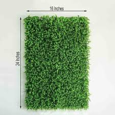 11 Sq Ft 4 Panels Artificial Boxwood Hedge Baby Green Leaves Foliage Green Garden Wall Mat Efavormart